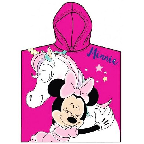 Disney Baby Minnie Mouse Unicorn Dark Pink Poncho Towel