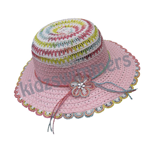 Girls Pink Straw Hat with Diamante and Flowers