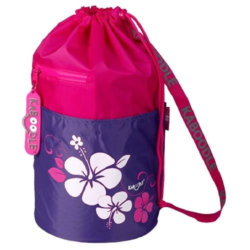 Kaboodle Hibiscus Flowers Swim and Sports Bag - Pink and Purple