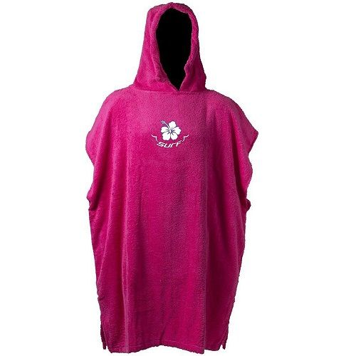 Kids Sports Changing Robe Hooded Towel - Hot Pink