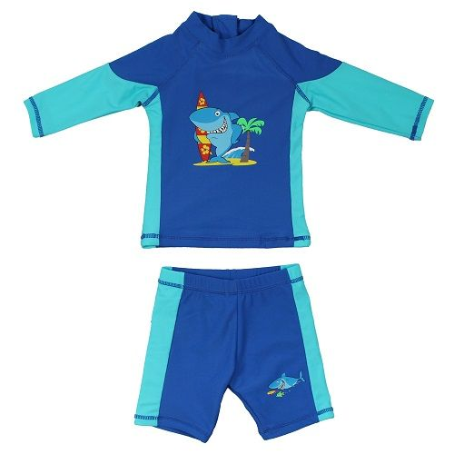 Kidz Swimmers Baby Boys Shark UV Rash Vest and Shorts UPF 50+