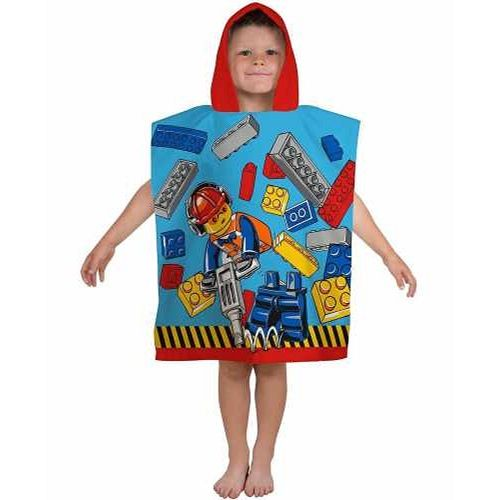 Lego City Construction Hooded Poncho Towel
