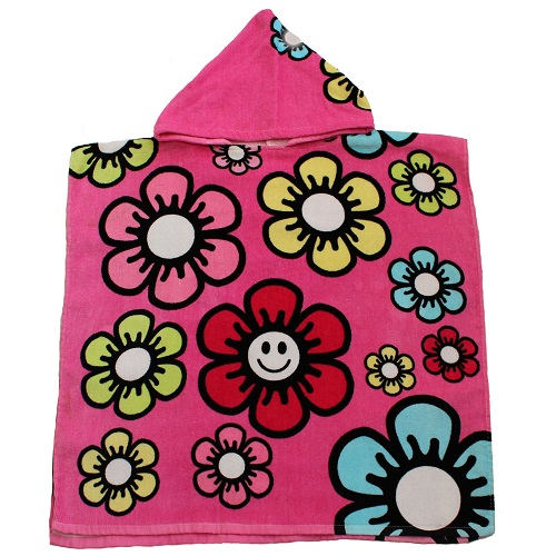 Poncho Buddy Smile Hooded Poncho Towel Pink Flower UPF 50+